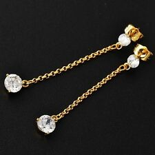 Vintage Womens clear CZ yellow Gold Filled Long Chain chandelier stud Earrings