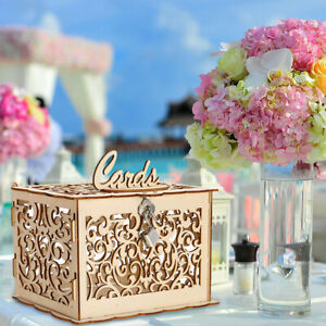 Wedding Gift Card Money Box Wooden Rustic Wedding Engagement GIFT Decor W/