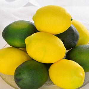 1/6/12pcs Lemon Artificial Lifelike Plastic Cute Home Party Decor Fake Fruits DU