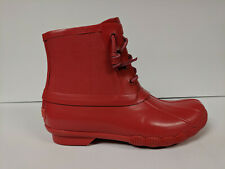 Sperry Saltwater Rubber Rain Boot, Red, Womens 6.5 M