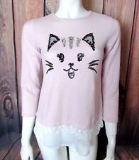 Poof Girl Sequin Kitty Cat Sweater Split Back Lace Ruffle Pink Long Sleeve