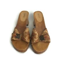ESPRIT WOMEN'S WOODEN WEDGE SHOES SANDAL LEATHER SIZE 8M TAN FLORAL SUMMER