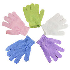 2Pair Exfoliating Bath Gloves Shower Face Skin Body Wash Massage Unblock Pores