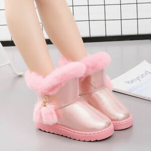 Childrens Girls Round Toe Ankle Boots Kids Winter Warm Plus Plush Cotton Shoes