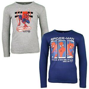 Marvel Spiderman Kinder langarm T-Shirt Jungen Grau Blau 104-134  Baumwolle