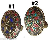 Egyptian Bedouin Siwa Handmade Arabian Middle East Finger Ring Adj Gemstone 104