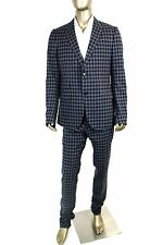 $3250 New Gucci Men's Black Blue Check Wool Suits IT 52R /US 42R 336717 4772