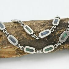 """Sterling Silver 925 Estate Lapis & Green Turqouise Chain Link Necklace 30"""" Long"""