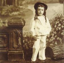 CABINET CARD PHOTO: Darling LITTLE BOY w RINGLETS HAT & WHITE SUIT Faux BACKDROP