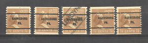 Scott 840 x 5 ... Pre-cancel  1 1/2 cent M. Washington...1939 Harrisburg PA