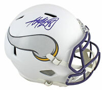 Vikings Adrian Peterson Signed Flat White Full Size Speed Rep Helmet BAS Witness