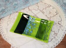 Handmade Reactive Green and Blue Glass Soap Dish