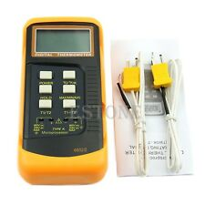 LCD Two Channel 2 K-Type Digital Thermometer Thermocouple Sensor 1300°C 2372 °F