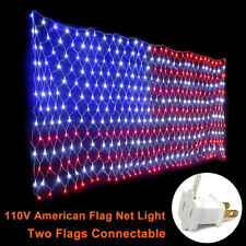 LED Net Light Large American Flag String Lights Decor Yard Garden Party Festival