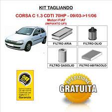 KIT TAGLIANDO 4 FILTRI TECNECO OPEL CORSA C 1.3 CDTI 70HP 09/03->11/06