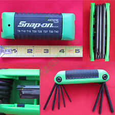 New Snap On Folding TORX Wrench Set with Green Plastic Handle AWTEF8K