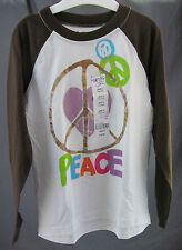 "Total Girl, Large (6), White/Chocolate ""Peace"" Jersey, New with Tags"