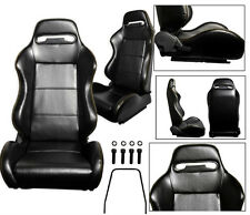 NEW 2 BLACK + YELLOW STITCH LEATHER RACING SEATS RECLINABLE ALL CHEVROLET ***