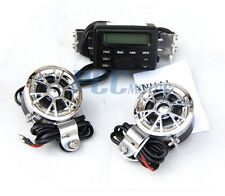 Motorcycle Bike Audio Radio MP3 iPod Stereo Chrome Speakers Sound System H TK11