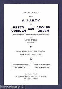 """""""A Party with BETTY COMDEN and ADOLPH GREEN"""" Los Angeles Benefit 1959 Playbill"""