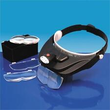 Headband Magnifier Kit with Triple LED Light And 4 Magnifying Lenses