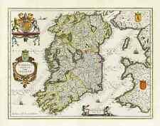 Ireland Hibernia antique map Janssonius Hondius 1638 cupids monsters art poster