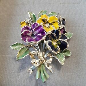 Vintage 'Exquisite' rare Brooch, 1950s Birthday Series, enamel flowers, signed