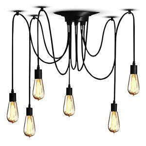 Lampadario a sospensione industriale per soffitto casa 6 teste lampada Vintage