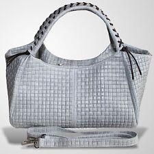 Leder Tasche Henkeltasche Umhängetasche Handtasche Schultertasche Grau
