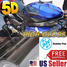 "84""x 5FT Premium 5D High Glossy Carbon Fiber Vinyl Wrap Protection Film Sheet"