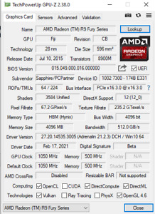 Sapphire Nitro R9 Fury Tri-X OC+ graphics card 4 Gb GPU 3 fan 8+8 pin Works Well