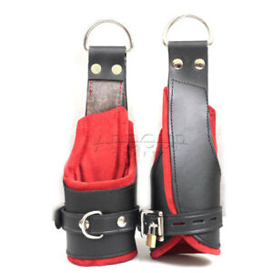 Cow Hide Heavy Leather Padded Wrist Hand Cuffs Suspension Cuffs Lockable Red