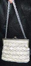 VTG White Clear Silver Glass Bead Geometric Handbag Purse Clutch