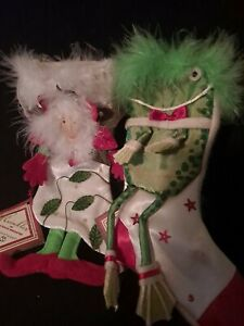 Patience Brewster Rose & Frog Stocking Christmas Krinkles Dept 56 Feathers