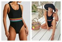 black rainbow elastic band swimsuit Matalan BNWT Summer Holiday (AD)
