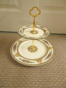WEDGWOOD COLUMBIA W595 PATTERN 2 TIER CAKE STAND