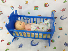 Vintage Germany Collectable Plasty Blue Crib & Celluloid Type Baby With Blanket