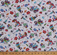 Funny Ladies Traveling Road Trip Mopeds on Cream Cotton Fabric Print BTY D476.23