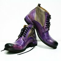 Modello Parione - Handmade Colorful Italian Leather Shoes Ankle Boots Purple