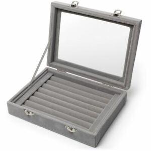 Velvet Ring Box Tray Jewellery Organiser Storage Rings Display Case Holder