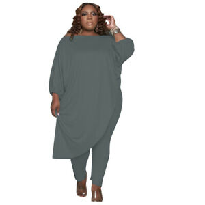 Plus Size Women Solid Boat Neck 3/4 Sleeve Loose Anomaly T-shirt Pants 2 Pcs Set
