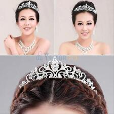 Princess Bridal Austrian Crystal Tiara Wedding Crown Headband Veil Hair Decor