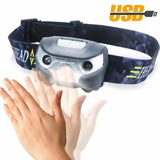 LED USB Rechargeable Headlamp 3 Mode Motion Zoomable Headlight for Biking Caving