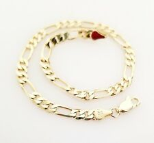 14K Italy Gold Plated Figaro Chain Anklet Bracelet