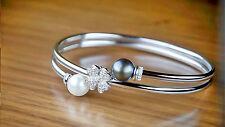 Armband Armreif Perlen Diamanten 0,20 Karat Brillanten 585er Weißgold Neu