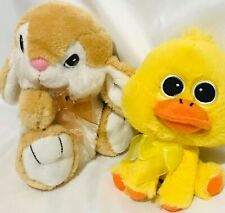 "Dan Dee Collectors Choice Tan Bunny & Walmart Duck Plush Lot Both 7"" Easter"