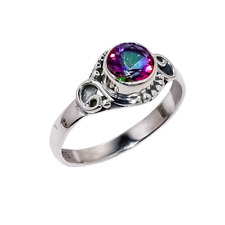 Beautiful Rainbow Mystic Topaz Solid 925 Sterling Silver Cocktail Solitaire Ring