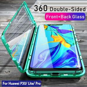 Hülle Huawei P30 Pro Lite P40 Magnet Doppelseitiges Glas Cover Handy Schutz Case