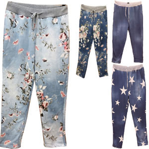 Ladies Womens Floral Print Italian Trousers Casual Joggers Jogging Bottoms Pants