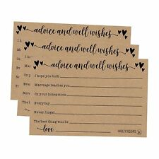 50 4x6 Kraft Rustic Wedding Advice & Well Wishes For The Bride and Groom...